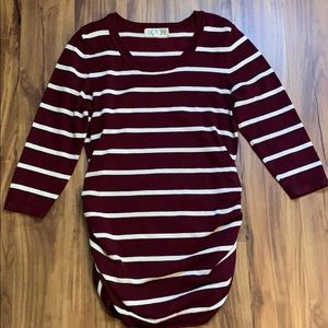 Maternity Burgundy Striped Sweater